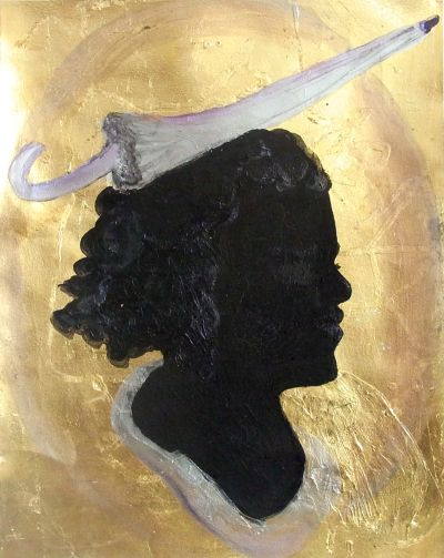 Umbrellahead Öl auf Blattgold, 38x29cm © Melody LaVerne Bettencourt 2012
