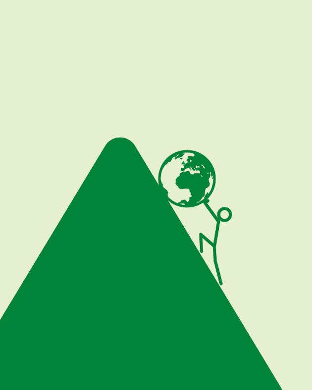 Strichfigur die Weltkugel einen Hügel hinaufschiebt