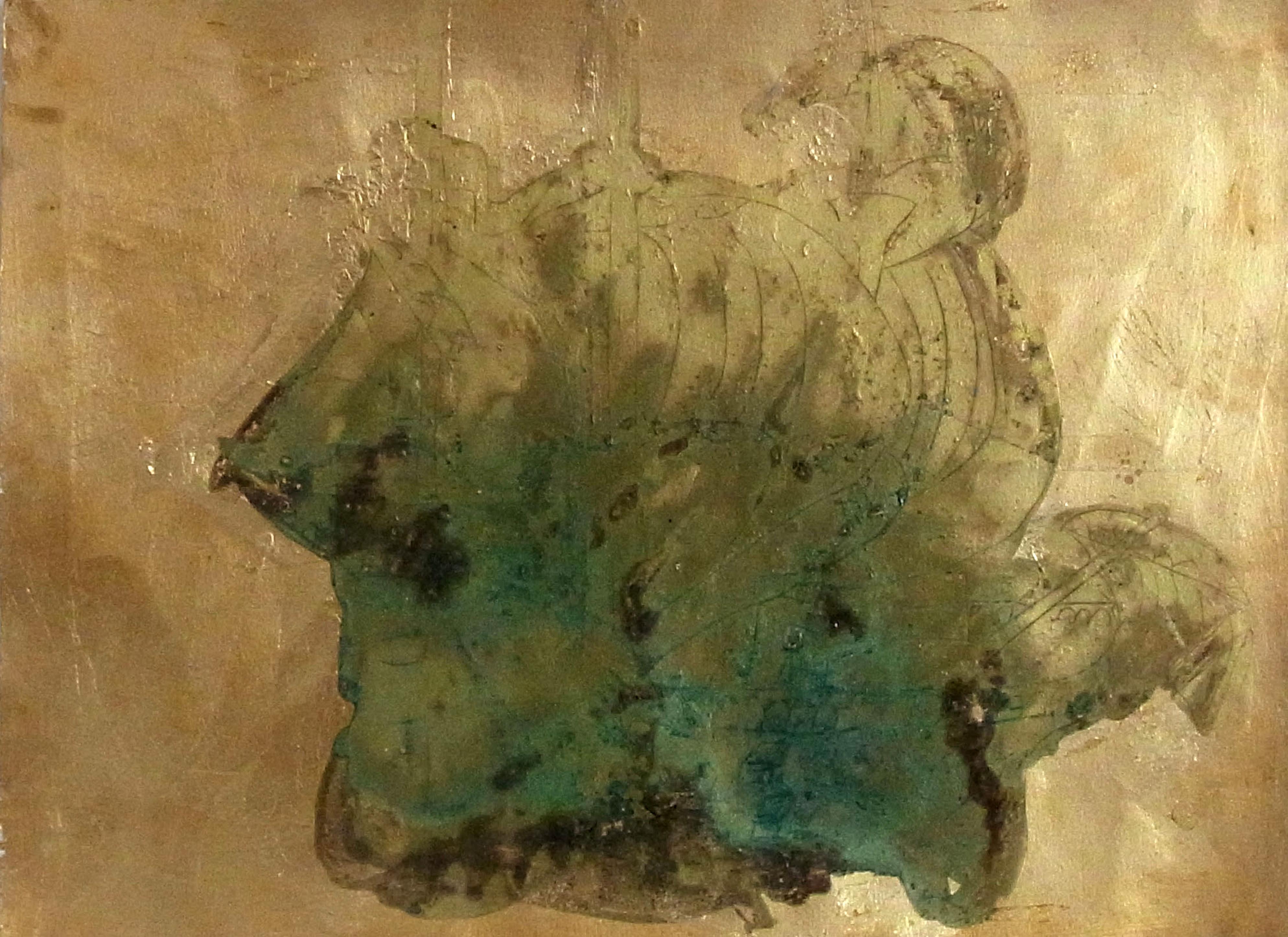 Colonialism Lack auf Blattgold, 42x29,7 cm © Melody LaVerne Bettencourt 2012